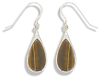 Pear Shape Tigers Eye French Wire Earrings 925 Sterling Silver - LIMITED STOCK