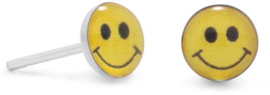 Smiley Face Post Earrings 925 Sterling Silver