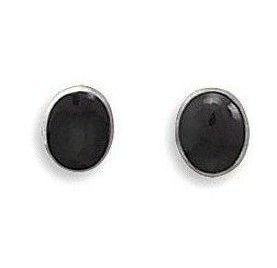 Oval Black Onyx Stud Earrings 925 Sterling Silver - LIMITED STOCK
