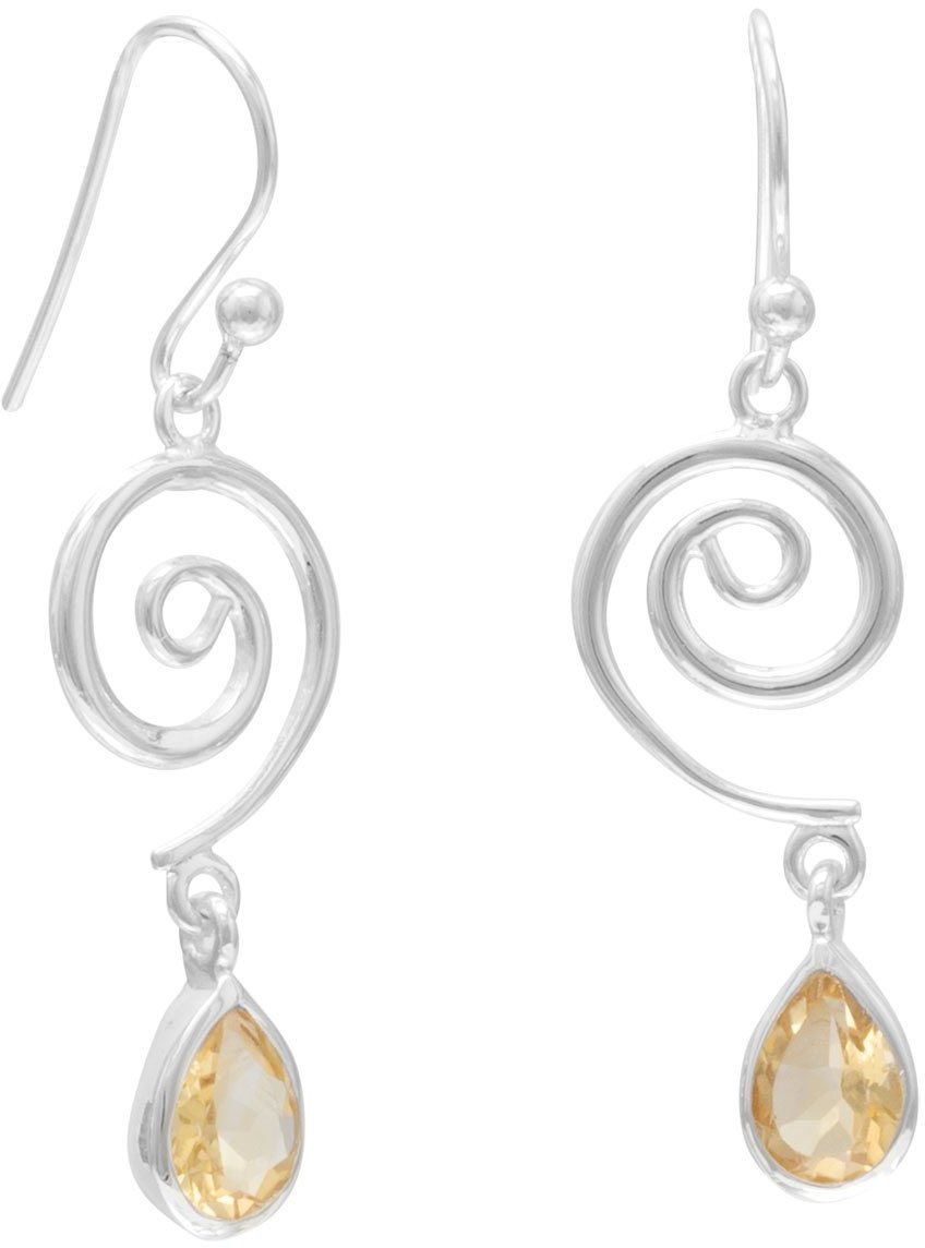Swirl Design French Wire Earrings with Faceted Citrine Drop 925 Sterling Silver