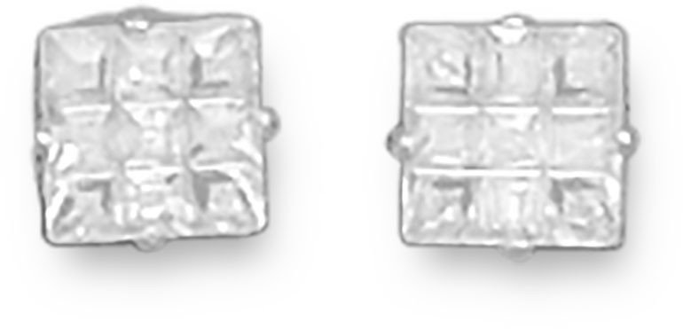 "5mm (1/5"") 9 Cut Square CZ Earrings 925 Sterling Silver - LIMITED STOCK"
