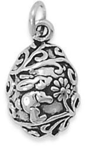 Egg with Bunny & Flowers Charm 925 Sterling Silver