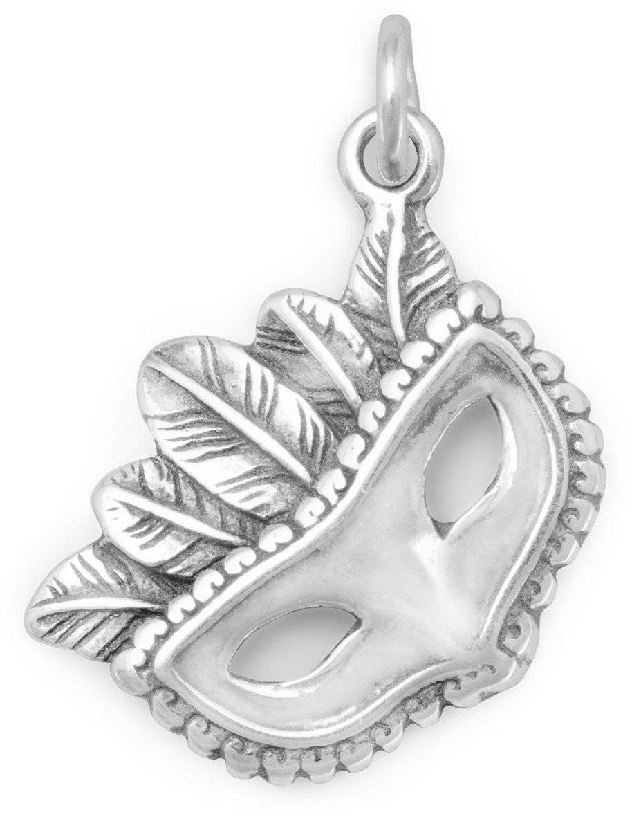Mardi Gras Mask with Feathers Charm 925 Sterling Silver