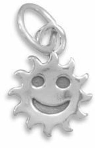 (C) Smiley Face Sun Charm 925 Sterling Silver