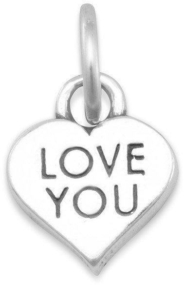 "(C) ""LOVE YOU"" Heart Charm 925 Sterling Silver"