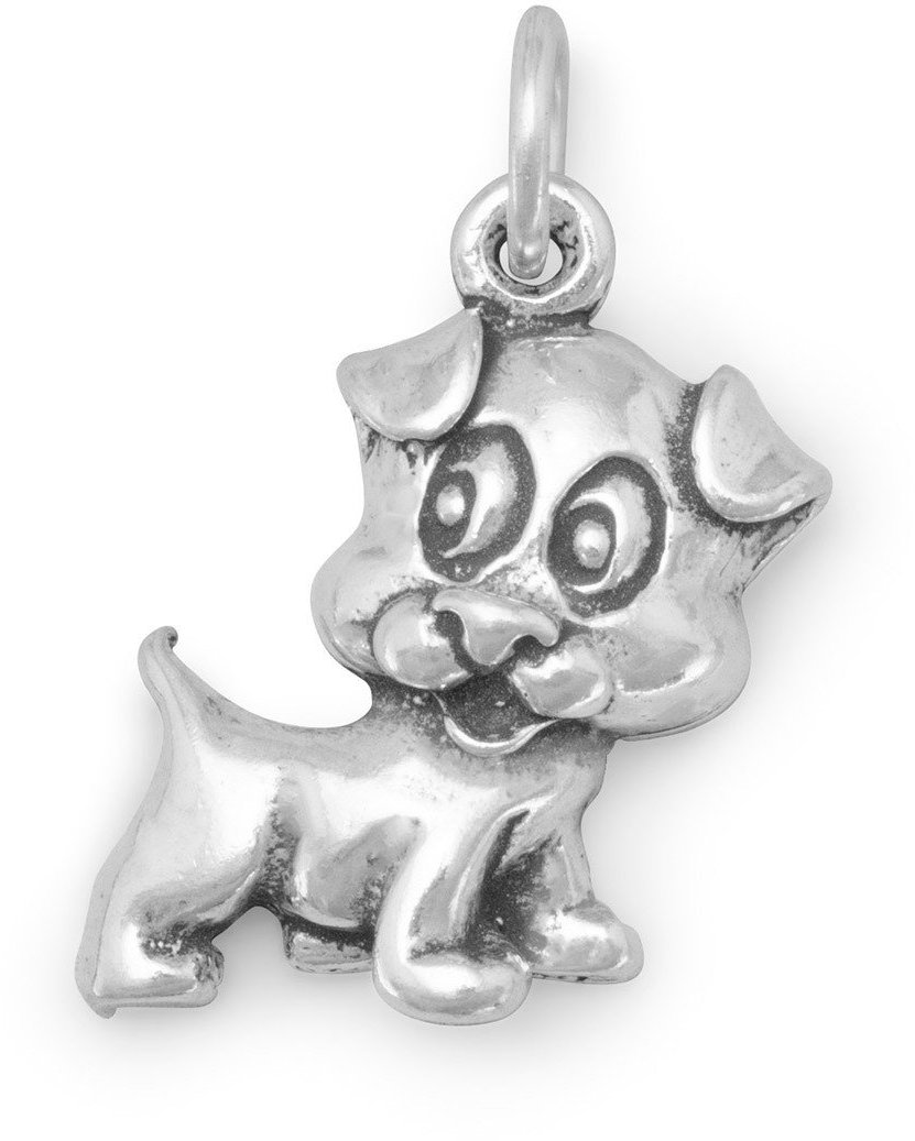 Puppy Dog Charm 925 Sterling Silver