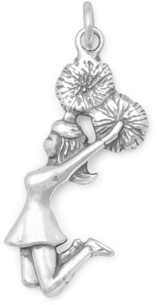 Cheerleader Charm 925 Sterling Silver