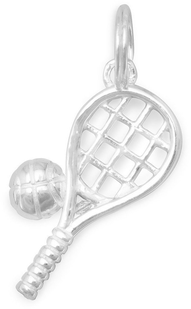 Polished Tennis Racket/Ball Charm 925 Sterling Silver