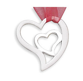 Satin/Polished Heart in Heart Pendant 925 Sterling Silver - CLEARANCE