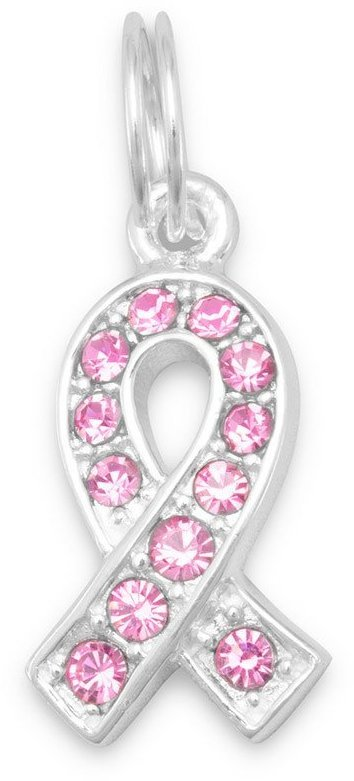 Pink Glass Awareness Ribbon Charm 925 Sterling Silver - LIMITED STOCK