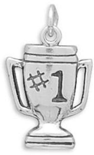 #1 Trophy Charm 925 Sterling Silver
