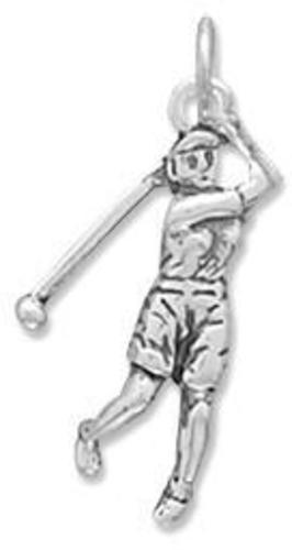 Female Golfer Charm 925 Sterling Silver