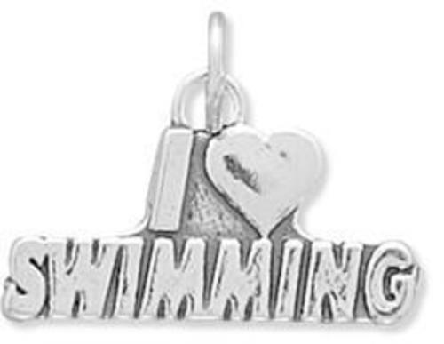I Love Swimming Charm 925 Sterling Silver