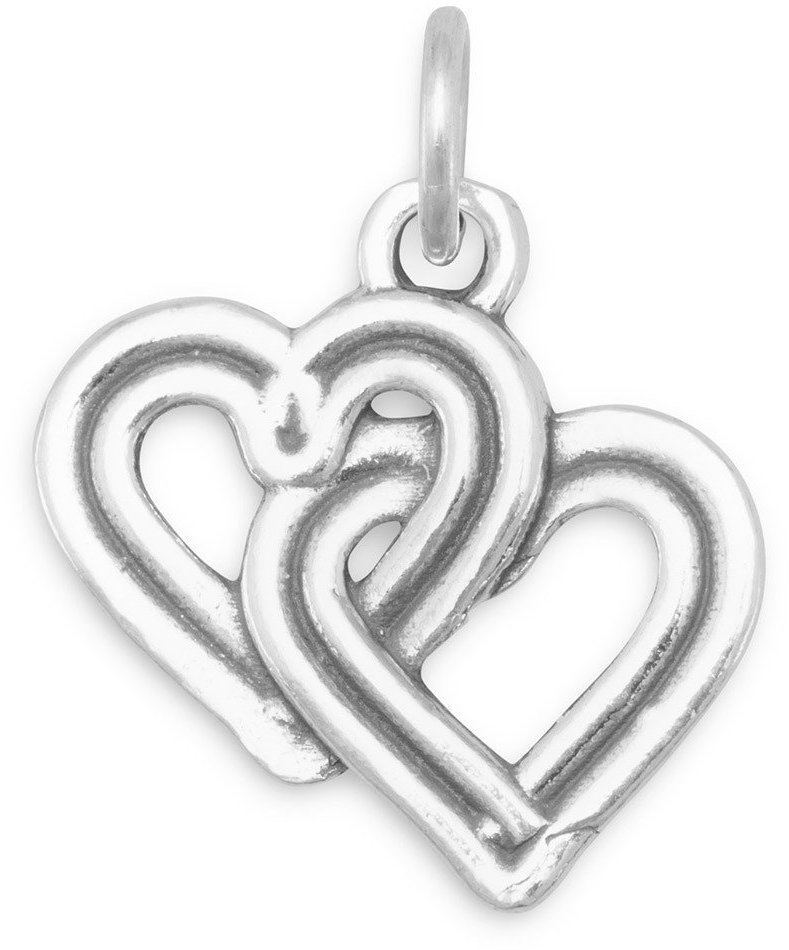 Reversible Interwoven Hearts Charm 925 Sterling Silver