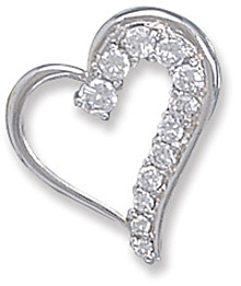 Rhodium Plated Graduated CZ Heart Slide 925 Sterling Silver - LIMITED STOCK