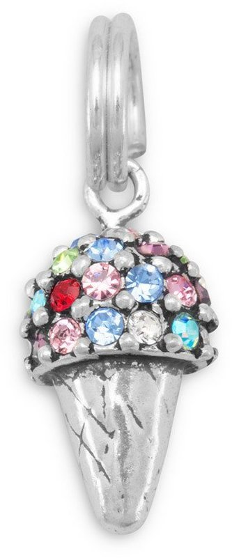 Multicolor Crystal Ice Cream Cone Charm 925 Sterling Silver