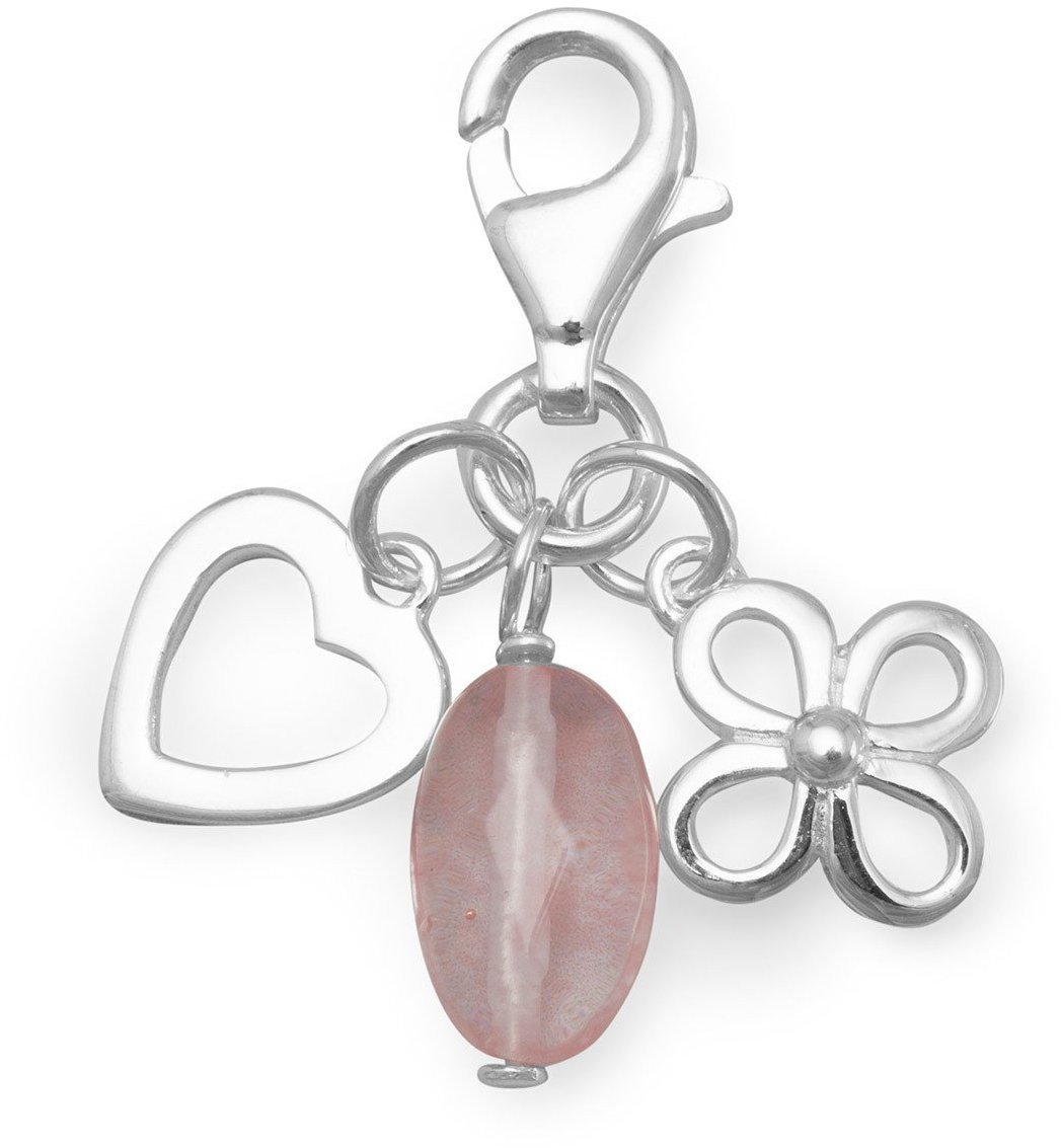 Flower, Heart and Cherry Quartz Charms with Lobster Clasp 925 Sterling Silver - LIMITED STOCK