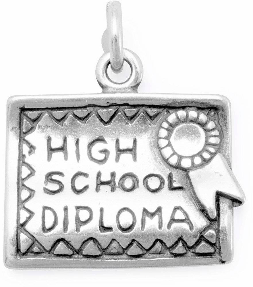 High School Diploma Charm 925 Sterling Silver