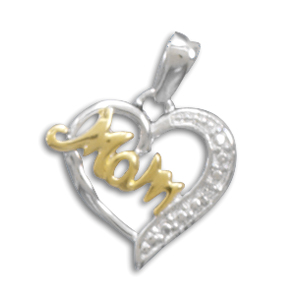 "18 Karat Gold Plate and Rhodium Plated Sterling Silver ""Mom"" Heart Pendant with CZs - LIMITED STOCK"