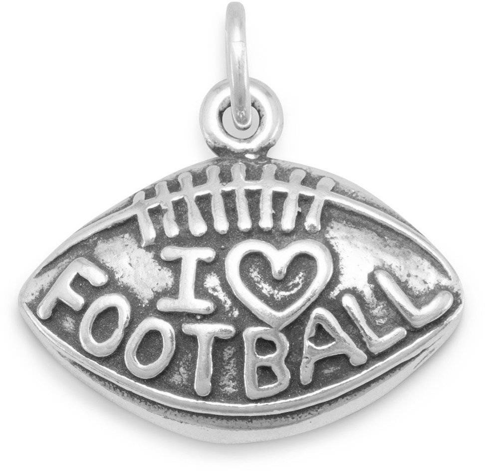 Oxidized I Love Football Charm 925 Sterling Silver