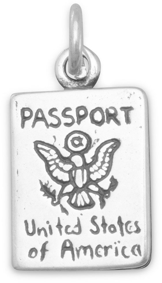 Passport Charm 925 Sterling Silver