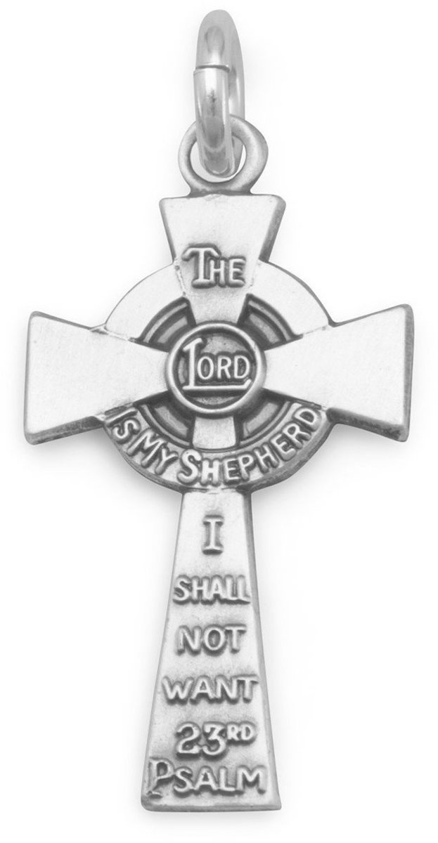 23rd Psalm Cross Charm 925 Sterling Silver