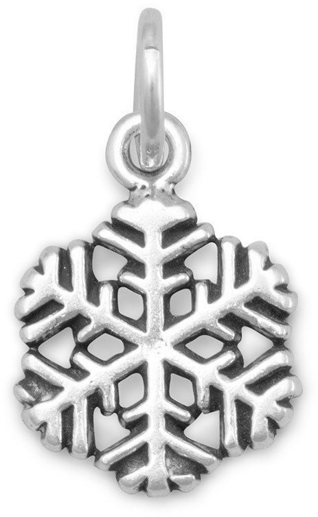 Small Oxidized Snowflake Charm 925 Sterling Silver
