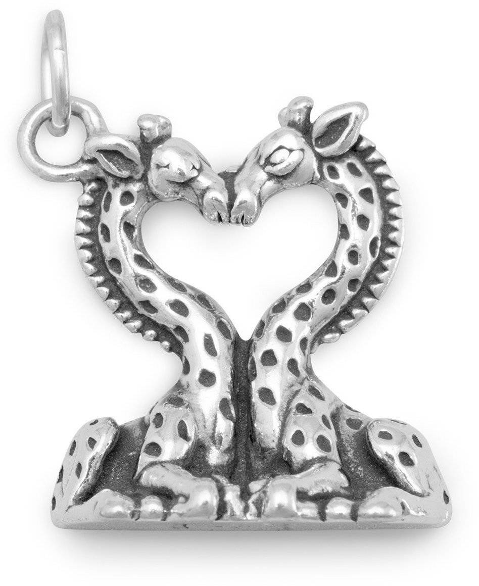 Heart Shaped Giraffes Charm 925 Sterling Silver