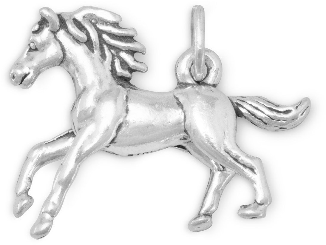 Galloping Horse Charm 925 Sterling Silver