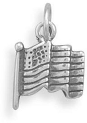 (C) Small Oxidized American Flag Charm 925 Sterling Silver