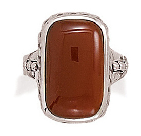 Oxidized Carnelian Ring 925 Sterling Silver