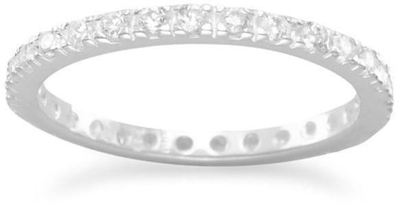 2mm (0.08) CZ Eternity Band Ring 925 Sterling Silver