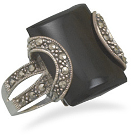 Black Onyx and Marcasite Ring 925 Sterling Silver - LIMITED STOCK