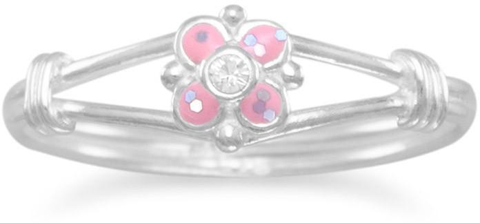 Pink Flower Childs Ring 925 Sterling Silver
