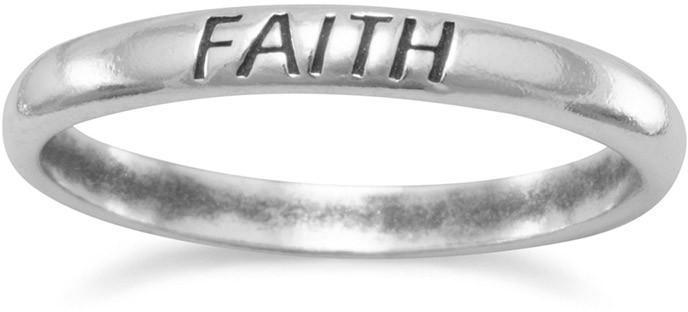 "Oxidized ""Faith"" Band 925 Sterling Silver"