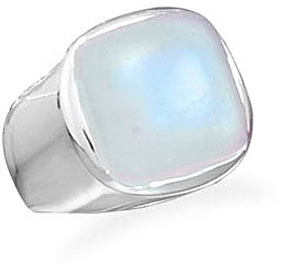 Soft Side Square Rainbow Moonstone Ring 925 Sterling Silver - CLEARANCE