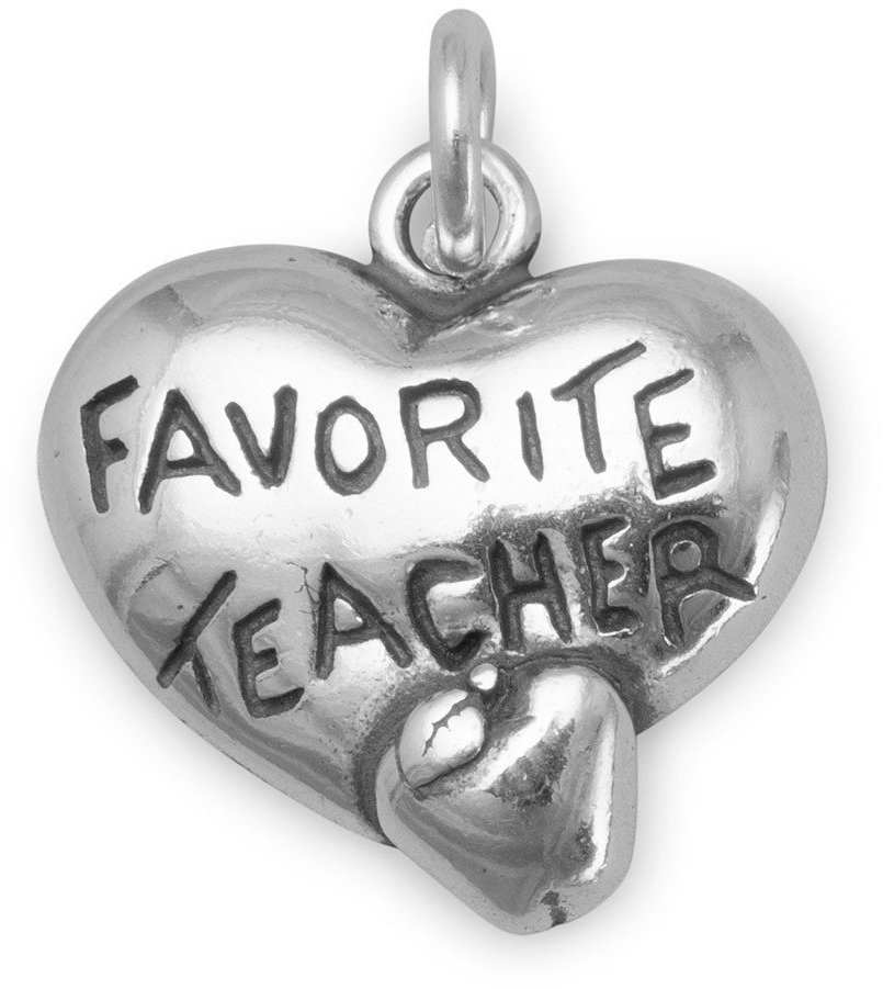 Heart Charm with Favorite Teacher and Apple 925 Sterling Silver