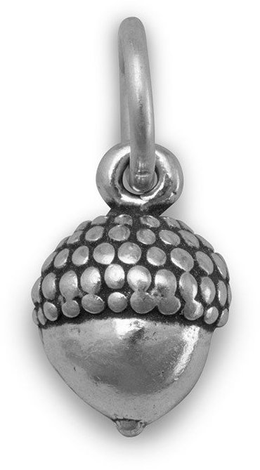 Small Oxidized Acorn Charm 925 Sterling Silver