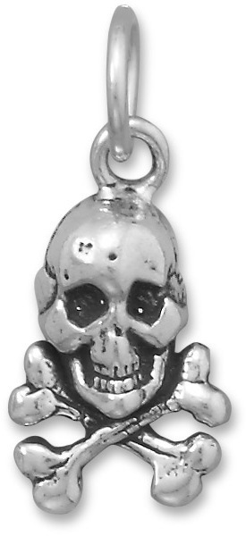 Skull and Crossbones Charm 925 Sterling Silver