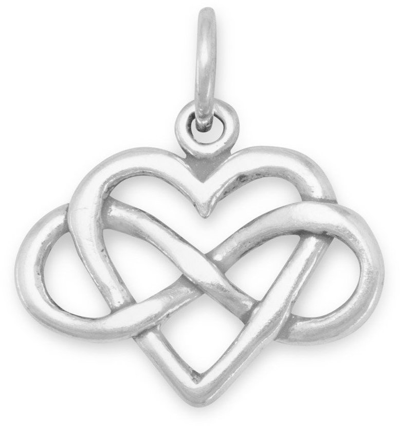 Infinity Heart Charm 925 Sterling Silver