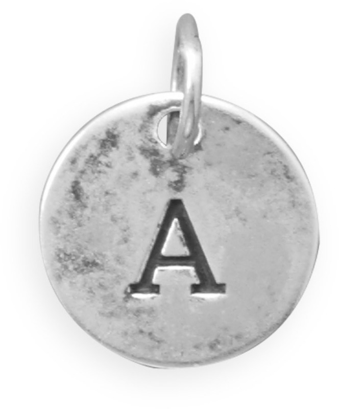 Oxidized Initial Charm 925 Sterling Silver (Choose Letter)