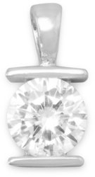 8mm Tension Set CZ Pendant 925 Sterling Silver - LIMITED STOCK
