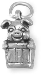 Pig in Bucket Charm 925 Sterling Silver