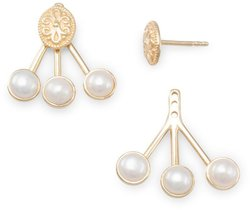 14K Gold Plated Cultured Freshwater Pearl Front Back Earrings 925 Sterling Silver
