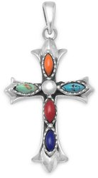 Marquise Multicolor Stone Cross Pendant 925 Sterling Silver