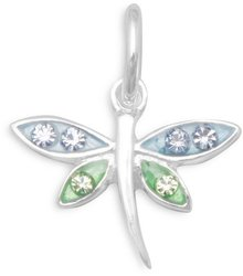 Epoxy Dragonfly Charm with Crystals 925 Sterling Silver