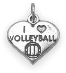 I Love Volleyball Charm 925 Sterling Silver