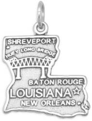 Louisiana State Charm 925 Sterling Silver (74369-LA-bt)