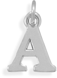 Oxidized Letter Charm or Pendant 925 Sterling Silver (Choose Letter)