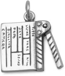 Oxidized Movie Clapboard Charm 925 Sterling Silver